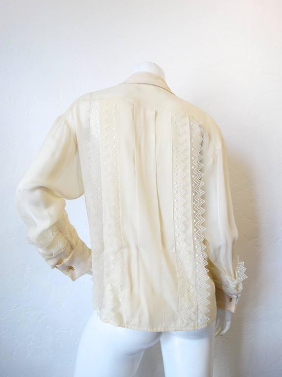 Women's 1980s Chanel Double Breasted Blouse with Pearl Chanel Buttons  For Sale