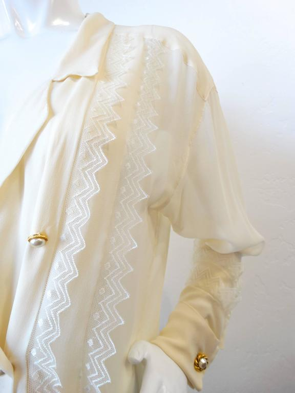 1980s Chanel Double Breasted Blouse with Pearl Chanel Buttons  6