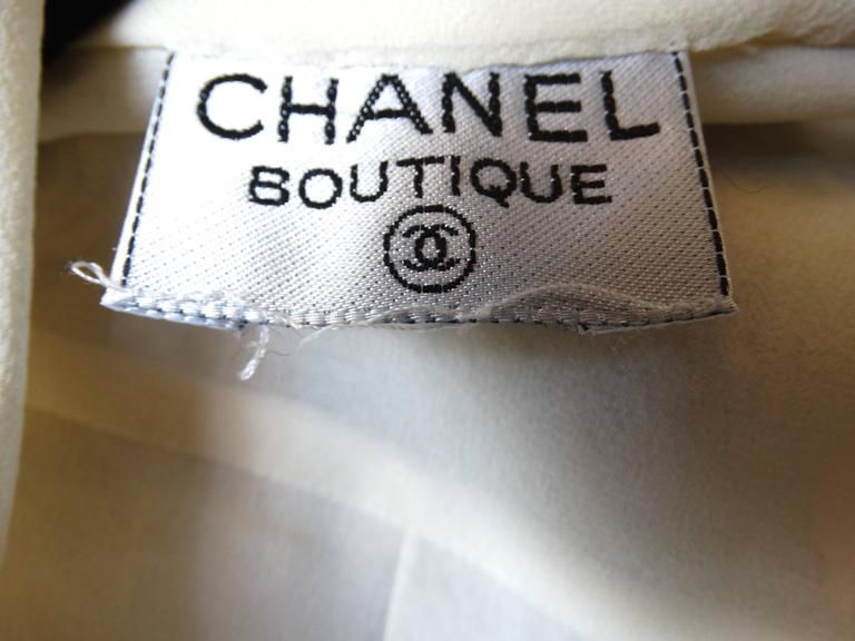 1980s Chanel Double Breasted Blouse with Pearl Chanel Buttons  For Sale 3