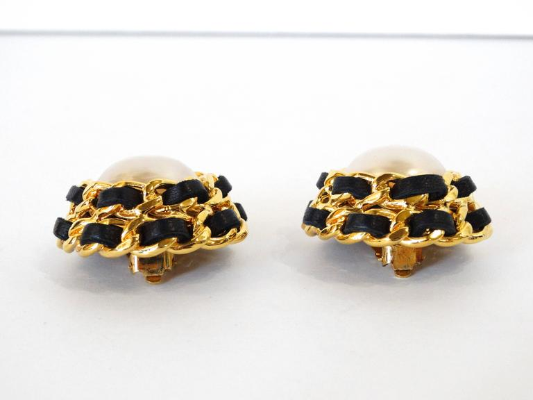 1980s Chanel Pearl Double Chain Earrings For Sale 1