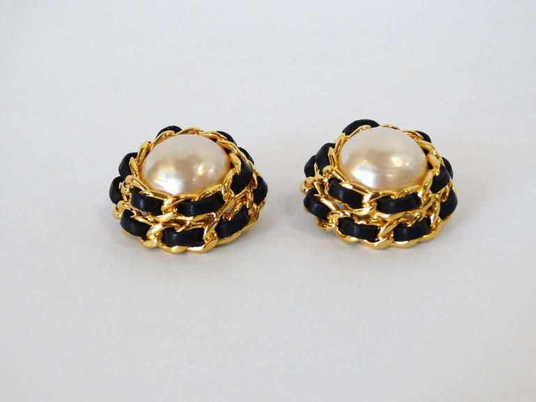 1980s Chanel Pearl Double Chain Earrings For Sale 3