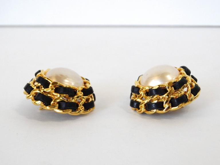 1980s Chanel Pearl Double Chain Earrings For Sale 4