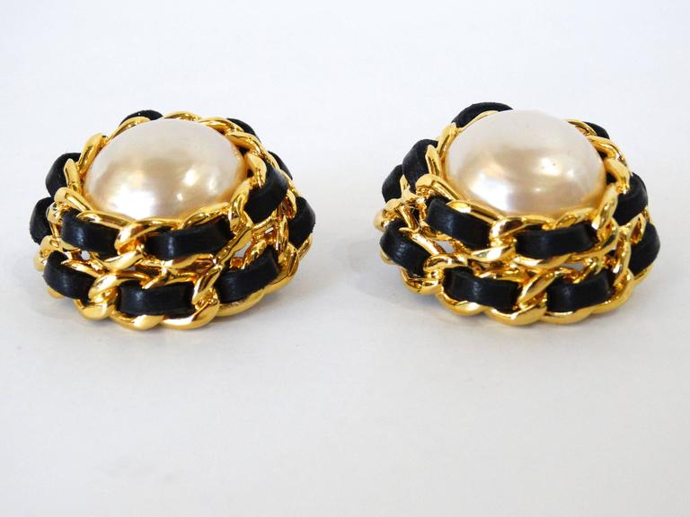 1980s Chanel Pearl Double Chain Earrings For Sale 2