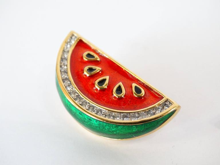 1980s Judith Leiber Watermelon Enamel Crystal Earrings In Excellent Condition For Sale In Scottsdale, AZ