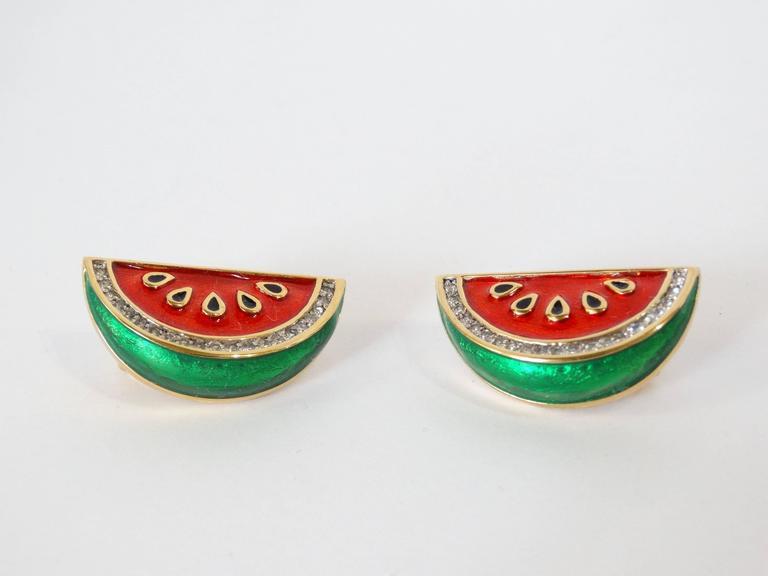 Women's or Men's 1980s Judith Leiber Watermelon Enamel Crystal Earrings For Sale
