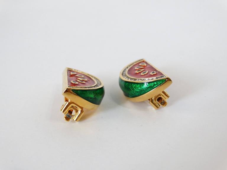 1980s Judith Leiber Watermelon Enamel Crystal Earrings For Sale 1