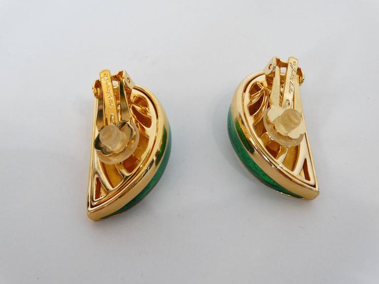 1980s Judith Leiber Watermelon Enamel Crystal Earrings For Sale 3