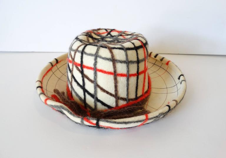 Brown Yves Saint Laurent Wool Plaid Chapeau  For Sale