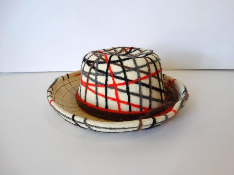 Women's Yves Saint Laurent Wool Plaid Chapeau  For Sale