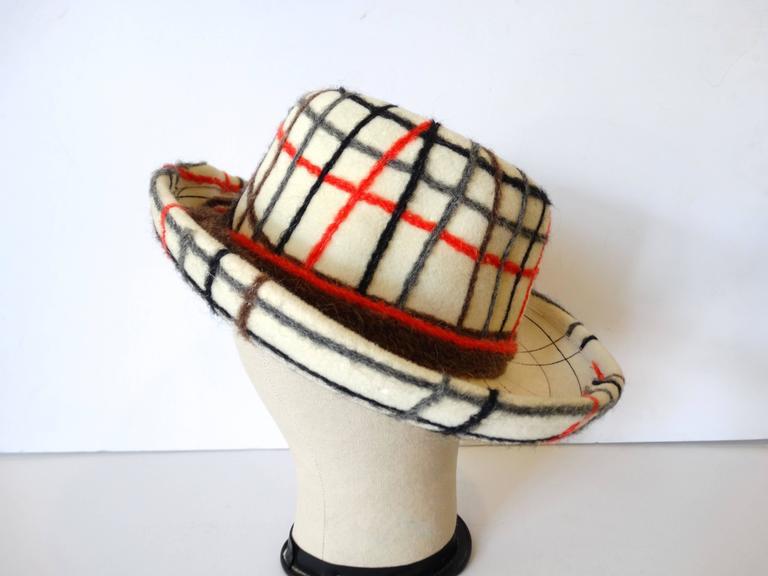Yves Saint Laurent Wool Plaid Chapeau  For Sale 1