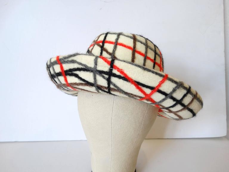 Yves Saint Laurent Wool Plaid Chapeau  For Sale 2