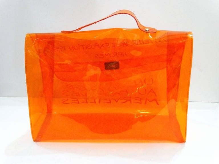 1998 Hermes Souvenir D'exposition Clear Orange Vinyl Kelly Bag 3