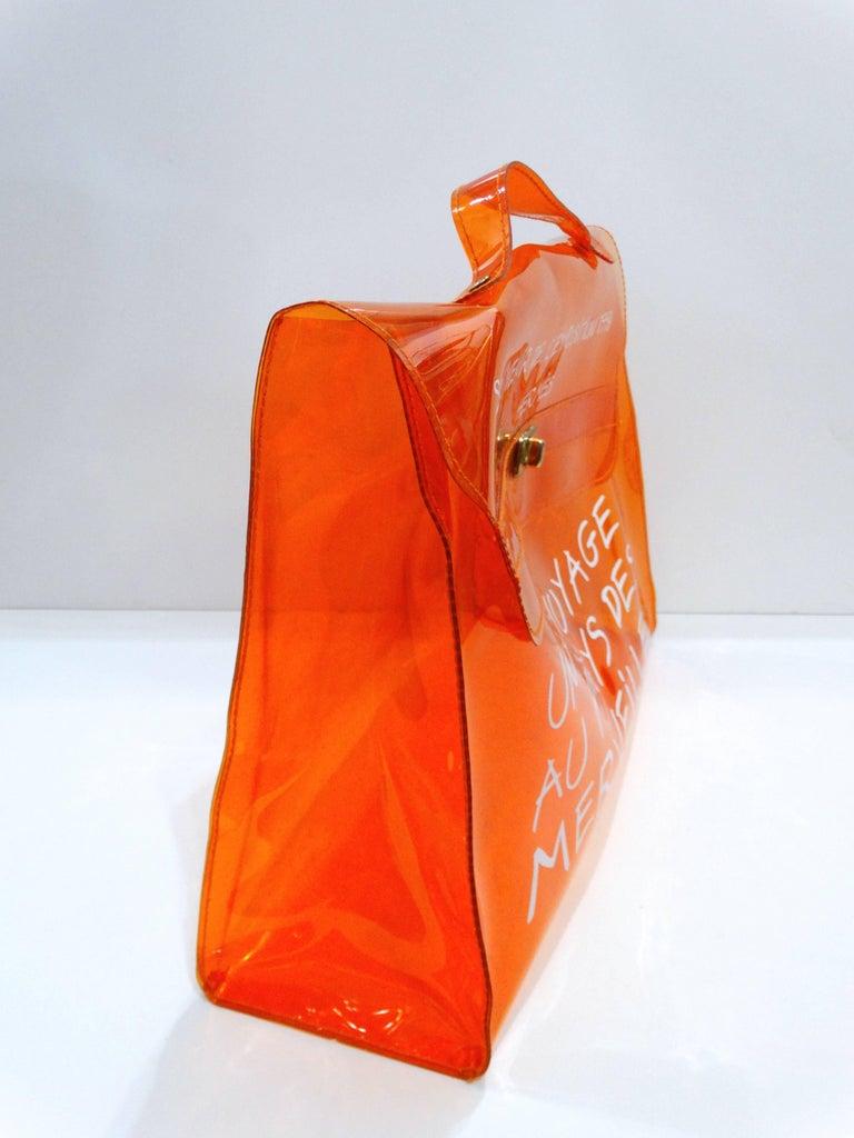 1998 Hermes Souvenir D'exposition Clear Orange Vinyl Kelly Bag 4