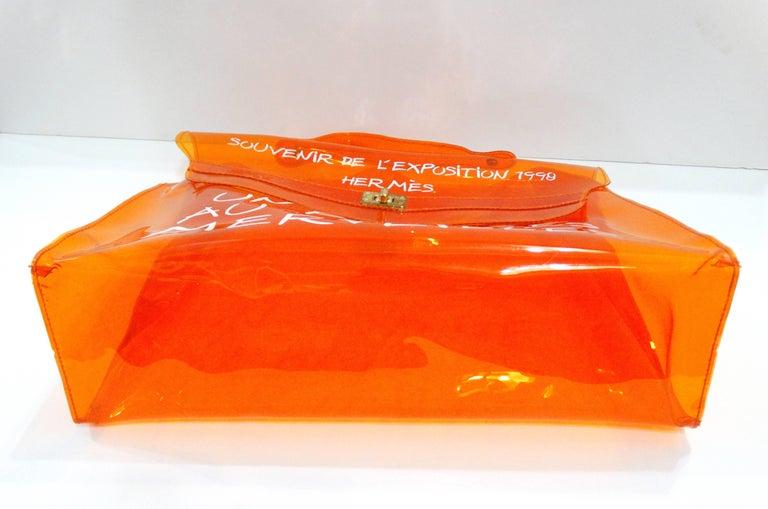1998 Hermes Souvenir D'exposition Clear Orange Vinyl Kelly Bag 5