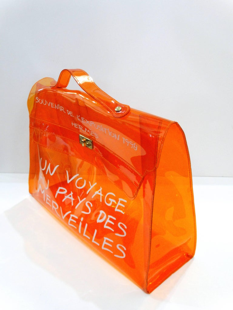 1998 Hermes Souvenir D Exposition Clear Orange Vinyl Kelly