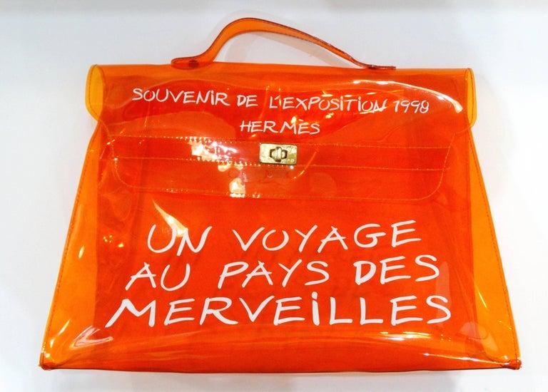 1998 Hermes Souvenir D'exposition Clear Orange Vinyl Kelly Bag 8