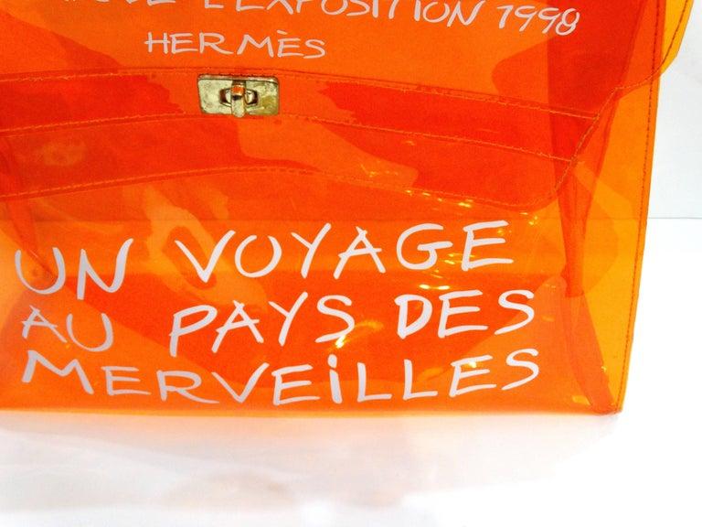1998 Hermes Souvenir D'exposition Clear Orange Vinyl Kelly Bag 9