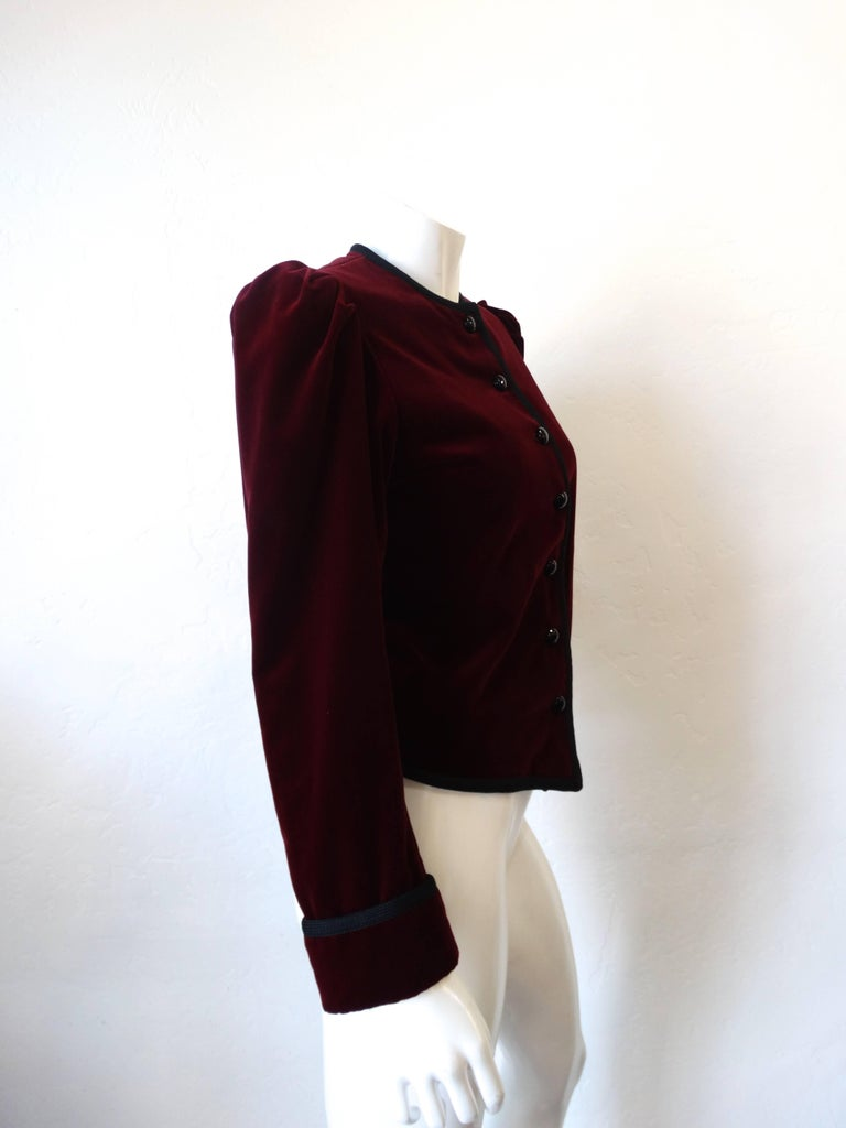 1970s Saint Laurent Burgundy Velvet Coat  2