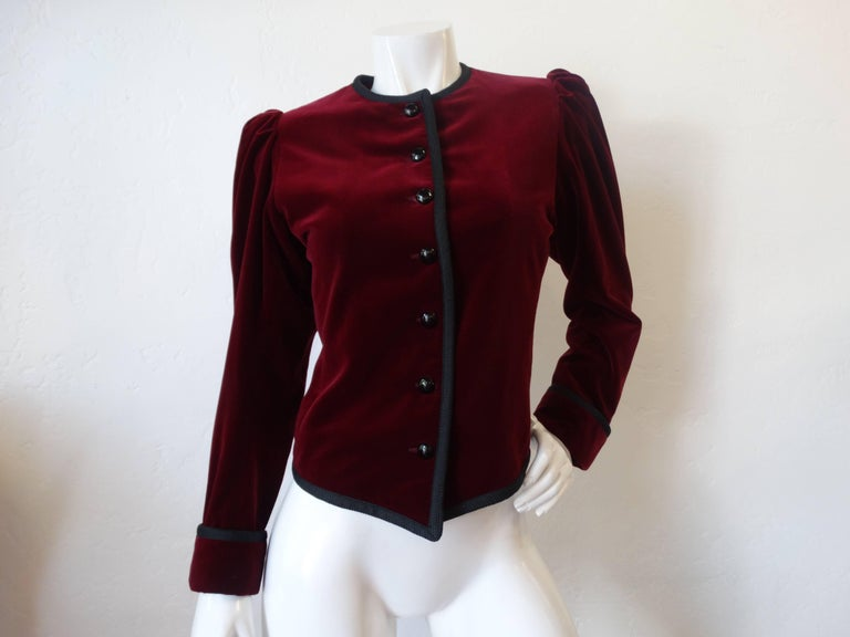 1970s Saint Laurent Burgundy Velvet Coat  3
