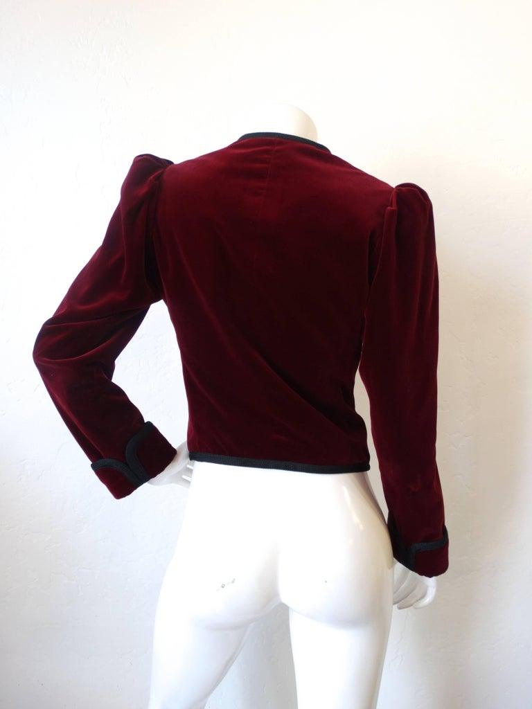 1970s Saint Laurent Burgundy Velvet Coat  4