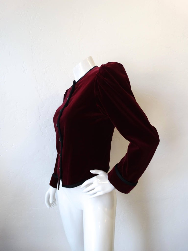 1970s Saint Laurent Burgundy Velvet Coat  6