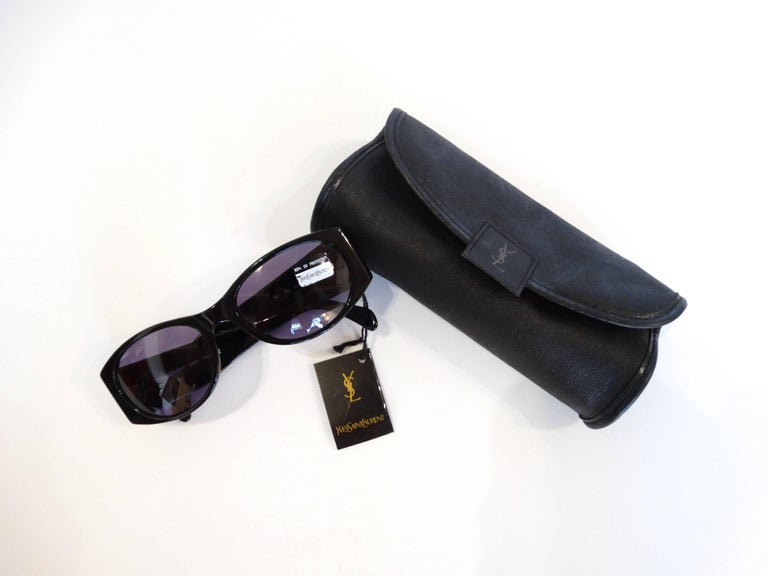 1980s Yves Saint Laurent Black & Gold Heart Sunglasses  For Sale 1