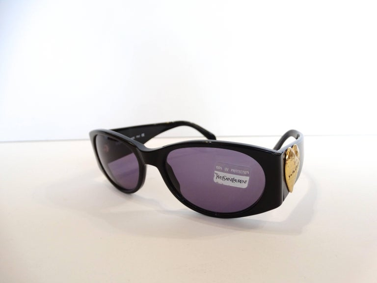 1980s Yves Saint Laurent Black & Gold Heart Sunglasses  For Sale 2