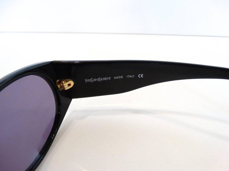 1980s Yves Saint Laurent Black & Gold Heart Sunglasses  For Sale 3