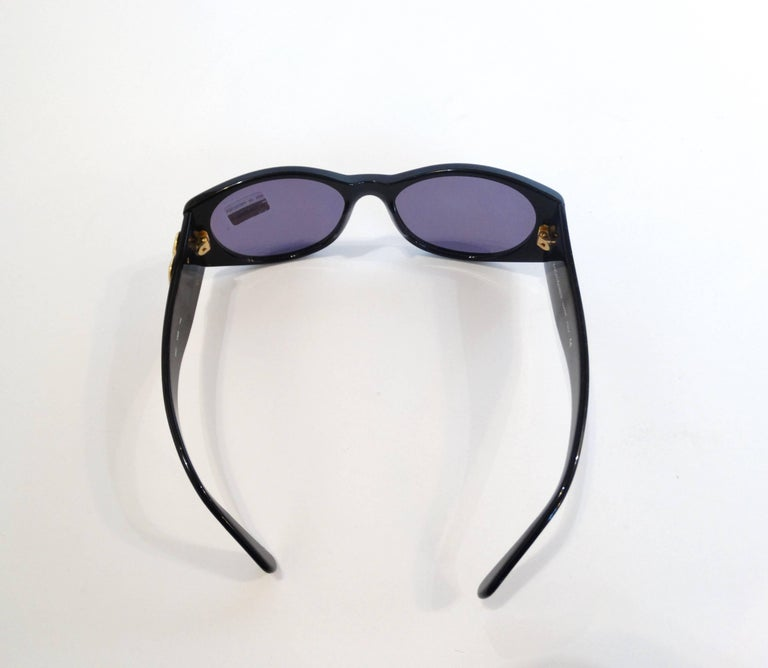 1980s Yves Saint Laurent Black & Gold Heart Sunglasses  For Sale 4