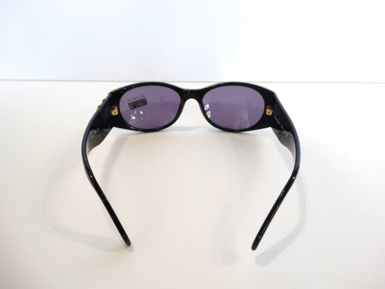 1980s Yves Saint Laurent Black & Gold Heart Sunglasses  For Sale 5