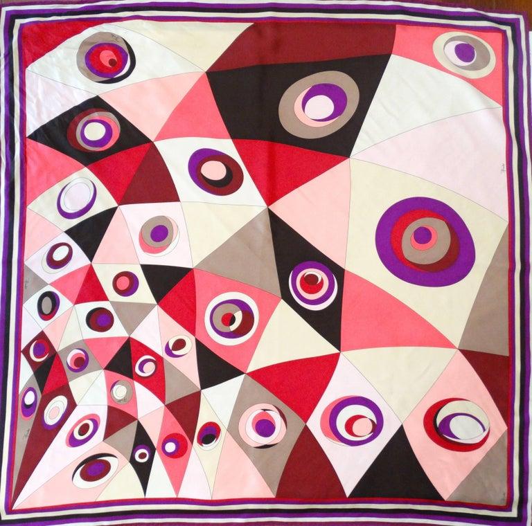 Beige 1990s Geometric Pucci Silk Scarf For Sale