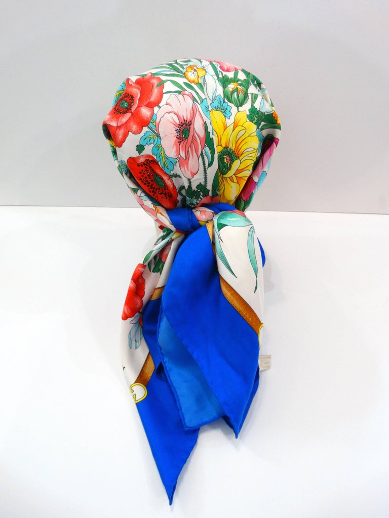 Gray 1970s Gucci Floral Silk Scarf For Sale