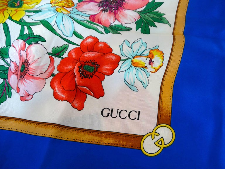 1970s Gucci Floral Silk Scarf For Sale 3