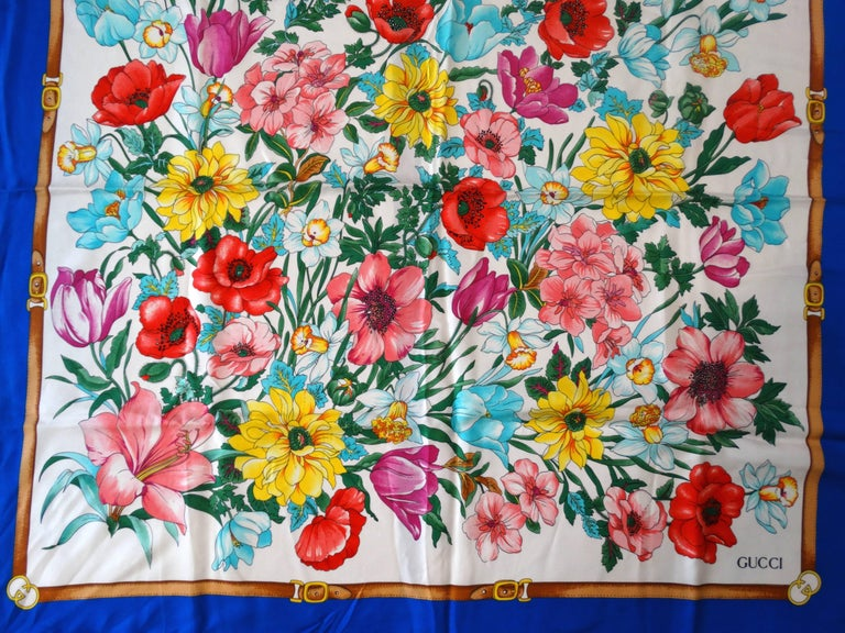 1970s Gucci Floral Silk Scarf For Sale 4