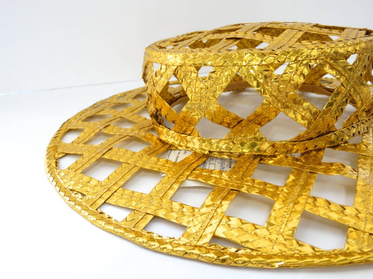 Brown Collectible 1990s Chanel Gold Lattice Hat  For Sale