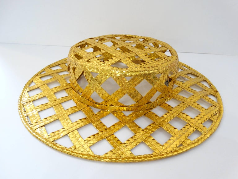Women's Collectible 1990s Chanel Gold Lattice Hat  For Sale