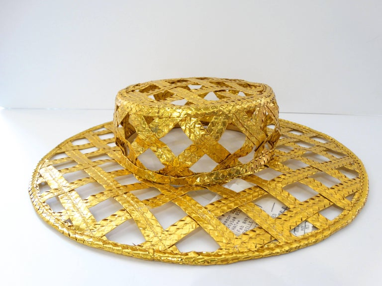 Collectible 1990s Chanel Gold Lattice Hat  In New Never_worn Condition For Sale In Scottsdale, AZ
