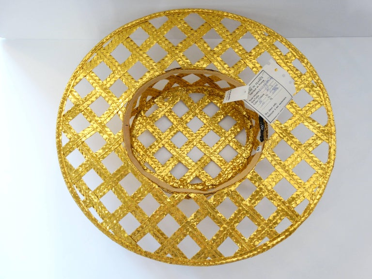 Collectible 1990s Chanel Gold Lattice Hat  For Sale 2