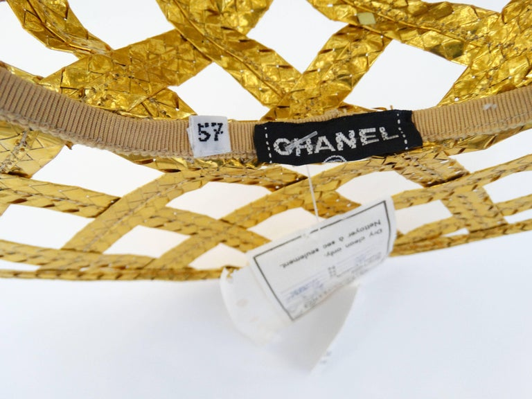 Collectible 1990s Chanel Gold Lattice Hat  For Sale 1