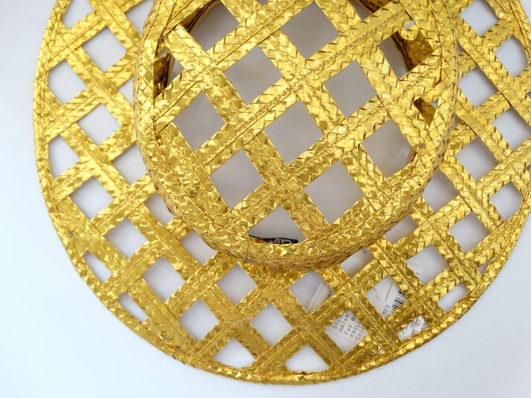 Collectible 1990s Chanel Gold Lattice Hat  For Sale 4