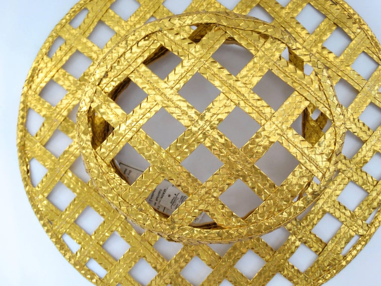 Collectible 1990s Chanel Gold Lattice Hat  For Sale 5