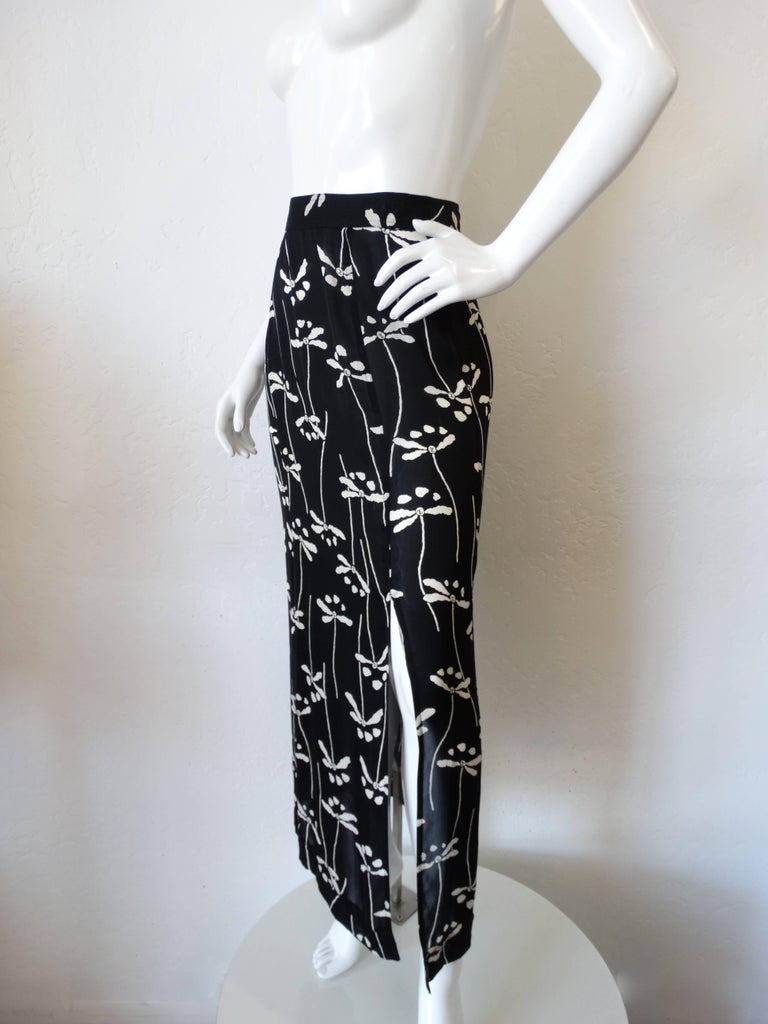 Rare 1990s Chanel Black and White Floral Skirt 5