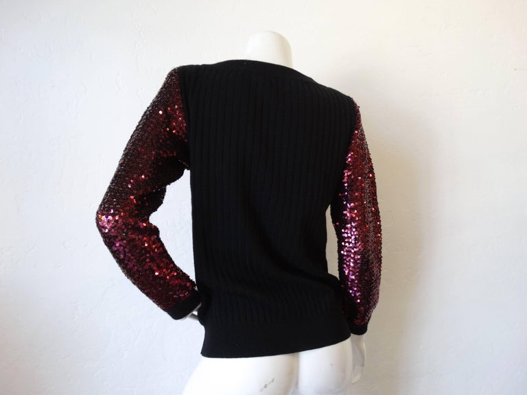 Black 1970s Saint Laurent Sequin Sleeve Sweater For Sale