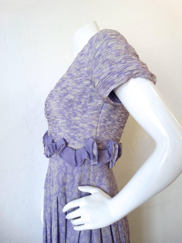 Purple 1970s Valentino Lilac Pintuck Gown For Sale