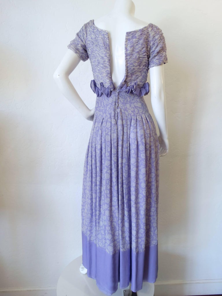 Women's 1970s Valentino Lilac Pintuck Gown For Sale