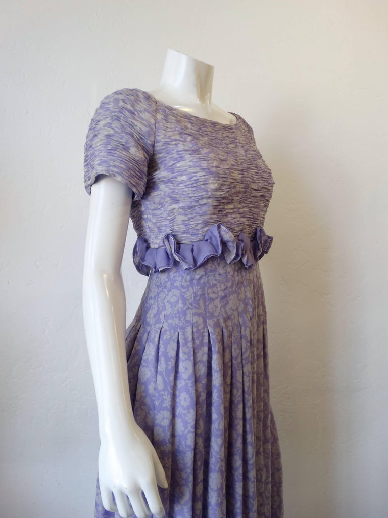 1970s Valentino Lilac Pintuck Gown For Sale 1