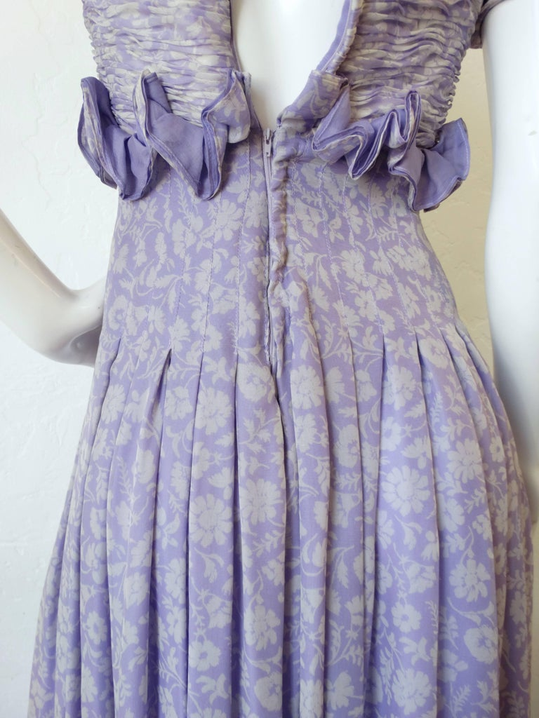 1970s Valentino Lilac Pintuck Gown For Sale 2