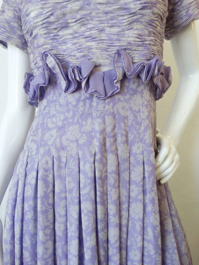 1970s Valentino Lilac Pintuck Gown For Sale 3