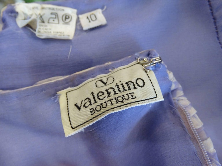 1970s Valentino Lilac Pintuck Gown For Sale 4