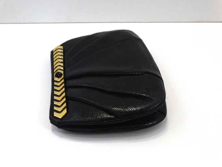 1980s Judith Leiber Black Snakeskin Evening Bag In Excellent Condition For Sale In Scottsdale, AZ